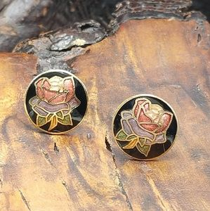NWT Vintage cloisonne Asian rose purple red green